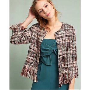 Anthropologie Tweed Plaid fringe jacket